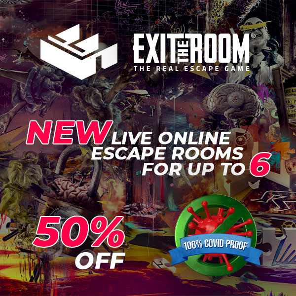 Exit the Room: the real escape game. New online escape rooms for up to 6 players. 50% off. 100% COVID-proof.